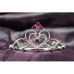 Princess Bridal Wedding Tiara Crown with Fuchsia Crystal
