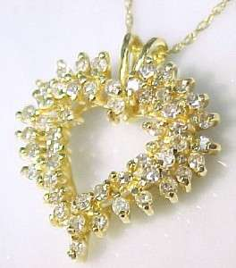 75ctw Diamond 14KT Solid Gold HEART Pendant Necklace 18 NEW
