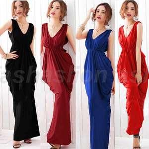 Elegant Deep V Neck Formal Gown Prom Party Sleeveless Long Maxi Dress