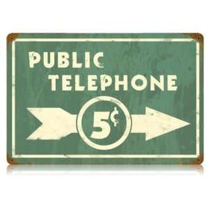 Public Telephone Home and Garden Vintage Metal Sign   Garage Art Signs