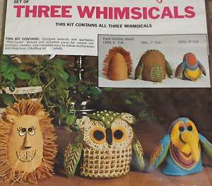 1971 Paragon Felt Animals Embroidery Kit Lion Owl Bird