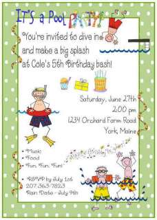 Personalized POOL PARTY SWIMMING Birthday Invitations