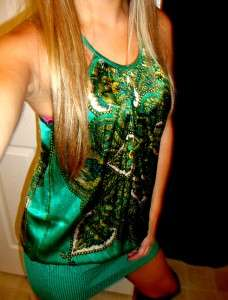 BEBE Emerald Envious Green Paisley Knit Silk Draped Tunic Top Mini