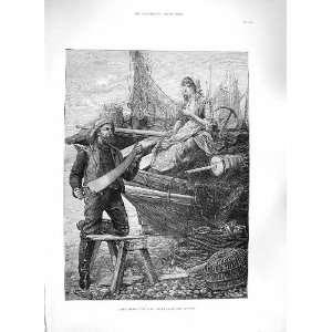 1885 LITTLE GOODS CARE FISHING BOAT GIRL NETS FINE ART Home & Kitchen