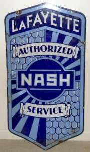RARE Nash Lafayette Porcelain Service Sign Fish Scale