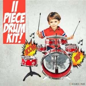 11pc Kids Boy Girl Drum Set Musical Instrument Toy Red