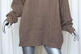 JIL SANDER Brown Thick Knit CASHMERE Oversized Turtleneck Sweater SOFT
