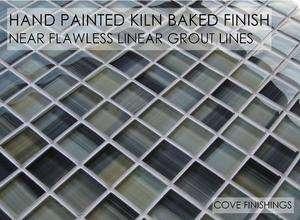 Square Hand Painted Glass Mosaic Tile For Kitchen Backsplash/Bathroom