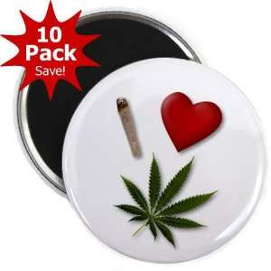 I HEART WEED Marijuana Pot Leaf 10 Pack of 2.25 inch Fridge
