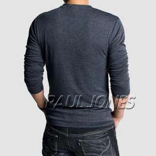 Fashion Show *Mens Plain V neck Long Sleeve SALE T shirts 7 Colors