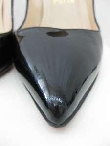 LOUBOUTIN CLASSIC PIGALLE BLACK PATENT PUMP PLATFORM SHOES 38 M