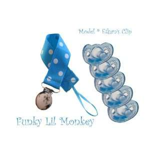 5 Blue Gumdrop Pacifiers + Polka dotted Pacifier Clip Baby