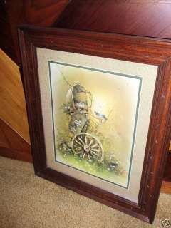 HOMCO FRAMED PICTURE MAILBOX BLUE BIRD NEST WAGON WHEEL