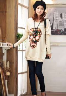 Women fashion skull printing Bat T shirt long sleeved loose Sweatshirt