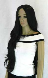 New Stylish Extra Long Wavy Black Womens Wig + Gift
