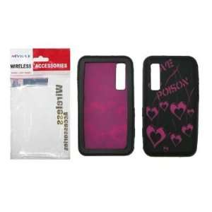 Black and Hot Pink Love Poison Design Gel Skin Cover Case