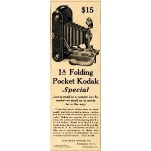 1908 Ad Eastman Kodak 1A Folding Pocket Camera Shutter