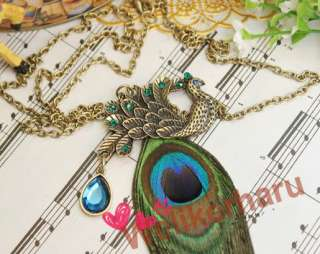 New Gorgeous Blue Eyes Peacock Long Feather Necklace