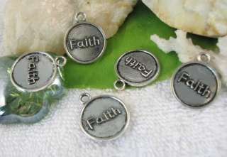 40pcs Tibetan Silver Faith word round charm SM0558