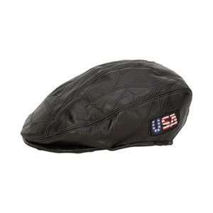 New Diamond Plate Rock Design Genuine Leather Flat Cap 2 Embroidered