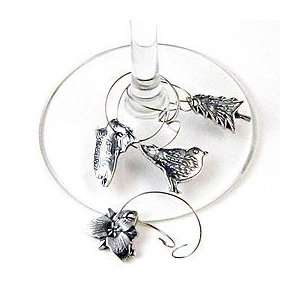 Flora and Fauna Pewter Wine Glass Charms by Crosby and