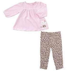 Carters 2 Piece Velour Pink Kitty Legging Set Baby