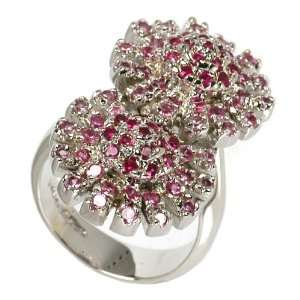 Two Pink Spinel Flower Ring Jewelry