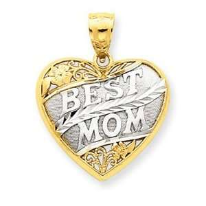 14k Yellow Two tone Gold Best Mom Scroll Heart Pendant