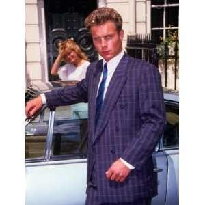 Retro Male Fashion Model, Posing, Sports Car, 1980s