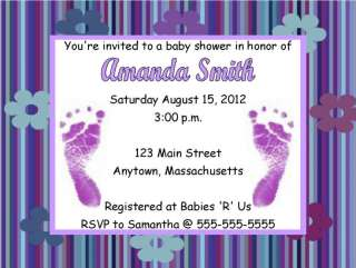 Girl Purple Feet Flowers Baby Shower Invitations Personalized