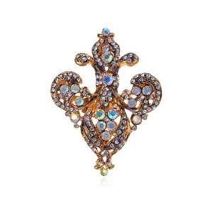 Tone Fleur De Lis AB Clear Rhinestone Crystal Adjustable Costume Ring