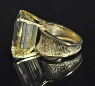 24.00 CT Lemon Quartz Emerald Cut Solitaire Cocktail Ring 8.75