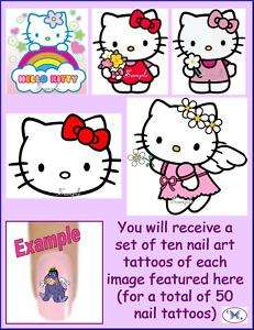 50 x Finger / Toe Nail Art Tattoo Decals   Hello Kitty