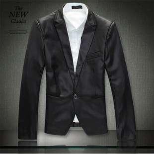 Korean Fashion Mens Tuxedo One Button Jacket Blazer Black/White