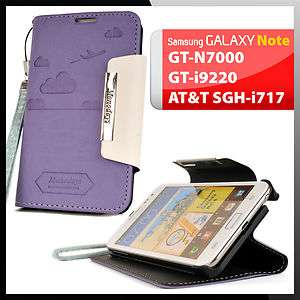 Galaxy Note PURPLE Leather Case Cover Flip Clutch Stand Diary Wallet