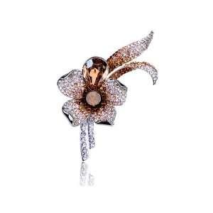 Topaz Brown Petal Flower Lapel Shirt Swarovski Crystal Rhinestone Pin