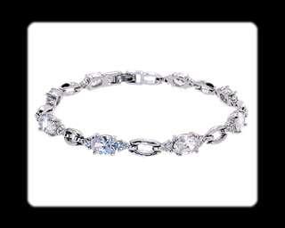 Beautiful Fashion Jewelry Clear Fine Topaz White Gold GP Tennis