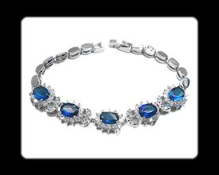 Fashion Jewelry Xmas Gift Blue Sapphire White Gold GP Tennis Bracelet