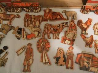 VINTAGE TOY WOODEN BARN, OUT BUILDINGS & FARM ANIMALS