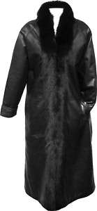 WOMENS FULL LENGTH LAMBSKIN COAT FOX FUR TRIM GORGEOUS