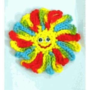 Happy Face Crochet Flower Refrigerator Magnet Set of two