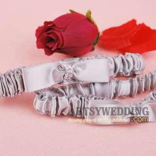 Gray Satin Rhinestone Toss Party Bridal Wedding Garter Set