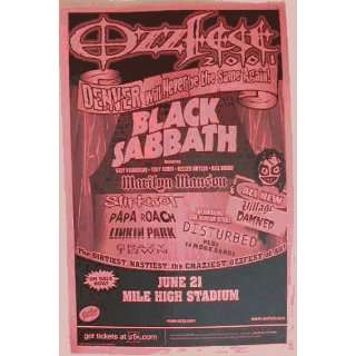 Black Sabbath Ozzy Osbourne Marilyn Manson Gig Poster