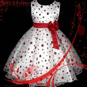 Christmas Bridesmaid Flower Girls Party Dress SIZE 3 4 5 6 7 8Y