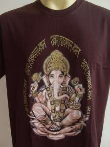 Ganesha Ganesh Lord T Shirt OM Hindu India Brown L #Si
