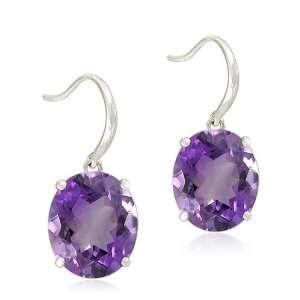 Sterling Silver Oval Shaped Amethyst Earrings Jewelry