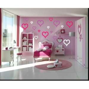 16 Heart Hearts Outlined Vinyl Wall Decal Stickers Kit
