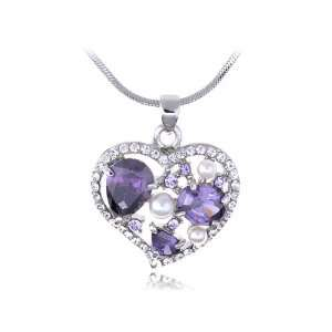 Tanzanite Faux Pearl Heart Outline Mosaic Swarovski Crystal Element