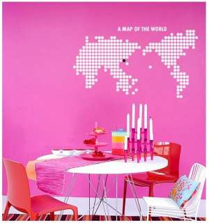 Map of the World Adhesive WALL STICKER Removable Decal