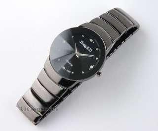 Gentlemen Black Dial Stainless Steel Wrist Watch #26